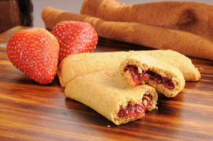 Nutrition breakfast bars filled with strawberry