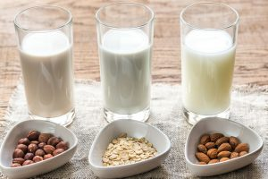 Hazelnut, oat and almond plant-based milks