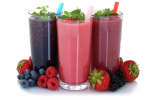 Clean label fruit smoothie s three flavors: strawberry, blueberry and grape